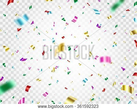 Colorful Confetti Falling On Transparent Background. Bright Surprising Party Backdrop. Shiny Festive