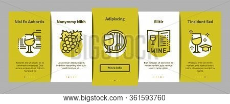 Sommelier Wine Tasting Onboarding Mobile App Page Screen Vector. Sommelier Hold Glass With Alcoholic
