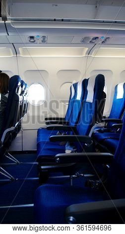 Copenhagen, Denmark - Jul 06th, 2015: Sas Aircraft Cabin Interior With No Passengers