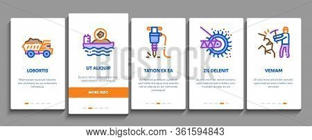 Coal Mining Equipment Onboarding Mobile App Page Screen Vector. Coal Truck Delivery And Conveyer, He