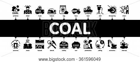Coal Mining Equipment Minimal Infographic Web Banner Vector. Coal Truck Delivery And Conveyer, Helme