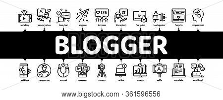 Blogger Internet Social Channel Minimal Infographic Web Banner Vector. Blogger Web Site And Likes, P
