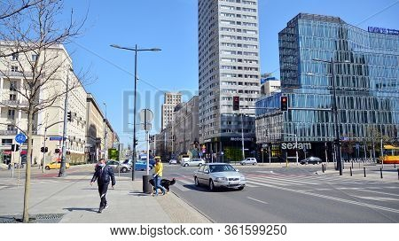 Warsaw, Poland. 16 April 2020. The Streets And Main Places Of Remain Deserted Due To The Coronavirus