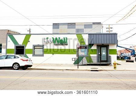 Denver, Colorado - April 15th, 2020:  Quiet Street Near Livwell Dispensary In The Rino District Duri