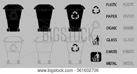 Recycle Bin. Recycle Waste Symbol. Outline And Black Trashcan. Collection Of Garbage Bins In Glyph A