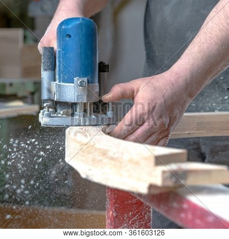 Detail Of Electric Milling Cutter In Joinery During Wood Milling
