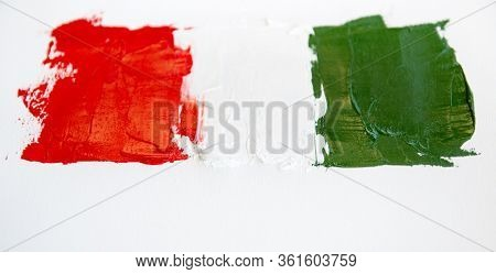 Painted flag of Italy. Italian tricolor, isolated. Abstract vivid green white red background, oil on canvas, creative design element with perfect texture, soft focus
