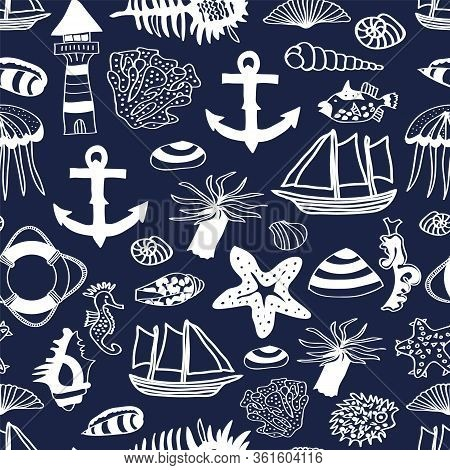 Vector Nautilus Seamless Pattern With Anchor, Shell, Ships, Star Fish, Life Ring, Coral, Light House