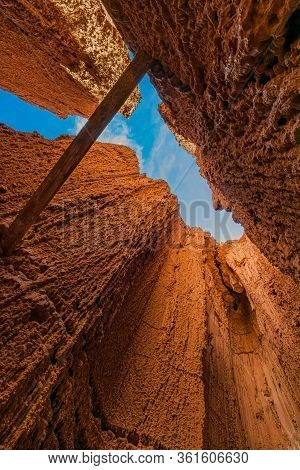 A Support Beam Spans The Chasm Created By The Hoodoos At Cathedral Gorge State Park, Nevada