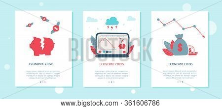 Stock Graph Crisis Cartoon Modern Flat Vector Mobile App Page Screen Template. Stock Financial Trade
