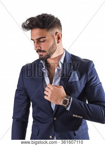 Elegant Young Man With Business Suit In Studio
