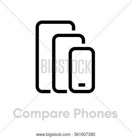 Compare Phones Multi-cameras Icon. Editable Line Vector.