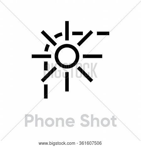 Phone Shot Camera Icon. Editable Line Vector.