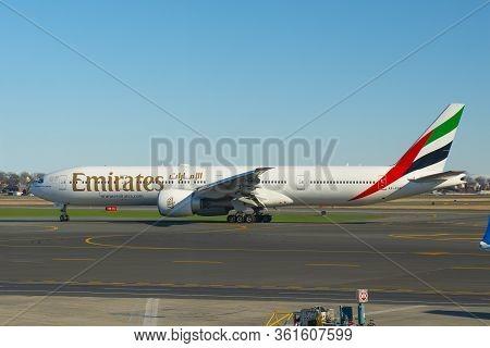 Boston, Usa - Dec. 8, 2018: Emirates Boeing 777-300er Taxiing At Boston Logan International Airport,