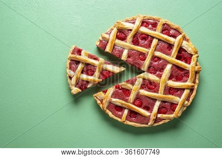 Raspberries Cake With Lattice Crust Top View. Tasty Home-baked Pie With Organic Raspberries And Whit