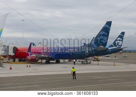 Seattle, Usa - Sep. 13, 2019: Alaska Airlines Boeing B737-900 N493as With More To Love Livery At Sea