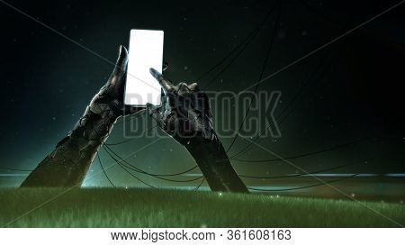 A Broken Bronze Statue Of Hands Holding A Luminous Cell Phone With Drooping Wires And Small Fragment