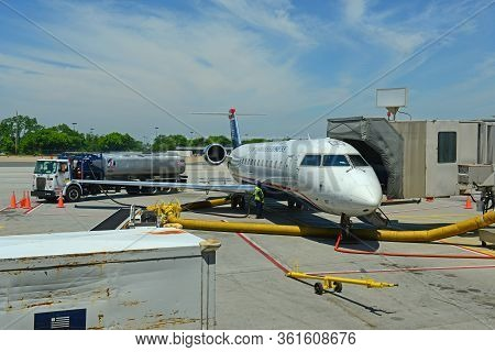 Philadelphia, Usa - May 31, 2013: Former Us Airways Express Bombardier Crj Canadair Regional Jet 200
