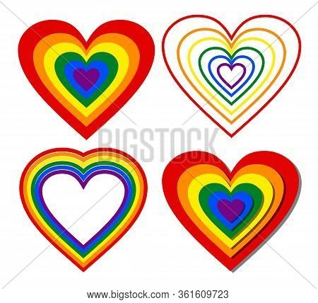 Collection Of Lgbt Rainbow Hearts In Different Graphic Design On White Background, Beautiful Print F