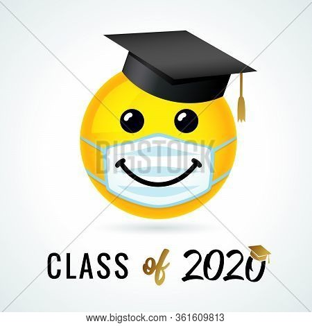 Class Of 2020 With Emoji Smile In Academic Cap & Medical Mask. Yellow Smiling Emoticon Wearing A Whi