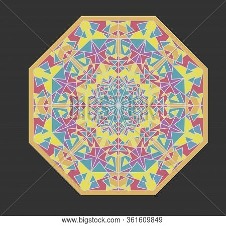 Octagonal Mosaic Geometric Patterns, Kaleidoscope Fragments, Ornament In Soft Pastel Colors On Dark