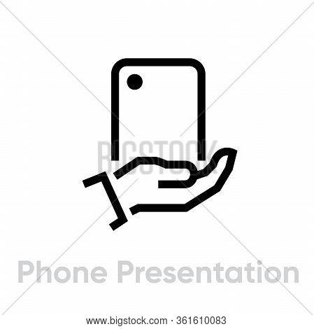 Phone Presentation Camera Icon. Editable Line Vector.
