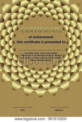 Luxurious Golden Template , Circle Wreath With 3d Illusion, Elegant Certificate Design
