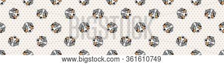 Hand Drawn Cute Australian Shepherd Puppy Face Breed Seamless Border Pattern. Purebred Pedigree Dome