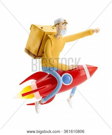 Delivery Guy Flies On A Rocket With Urgent Order In Medical Mask And Yellow Uniform Stands With The