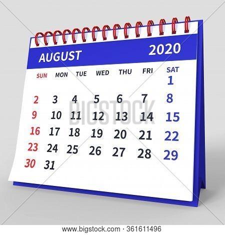Standing Desk Calendar August 2020. Business Monthly Calendar With Red Spiral Bound, Week Starts On
