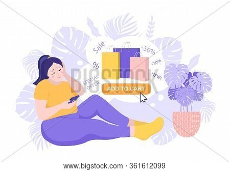 Happy Overweight Woman Bought Many Expensive Things Through Online Internet Shop. Sale And Consumeri