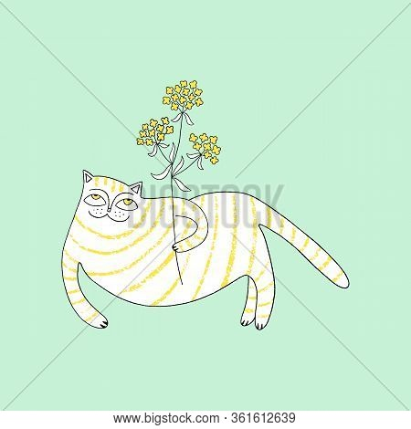 Greeting Card With Cute Cat And Valerian Flower. Vector Illustration