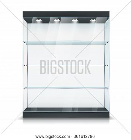 Glass Showcase Stand With Shelves And Light Lamps, Vector Realistic 3d Mockup Object. Product Displa