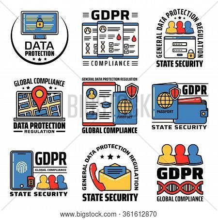 Gdpr Personal Data Protection And Internet Information Security, Vector Icons. Gdpr General Data Pro