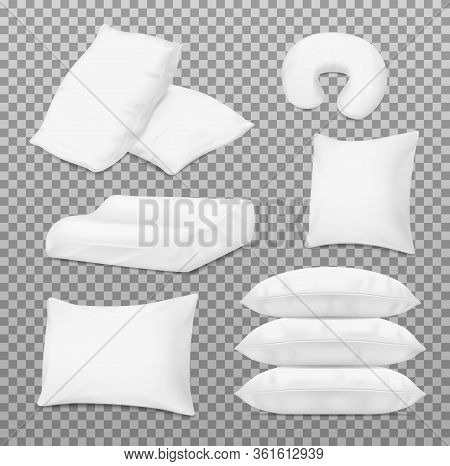 Pillows And Bed Cushions, Vector Realistic 3d White Mockup Templates. Inflatable Travel Cushion And