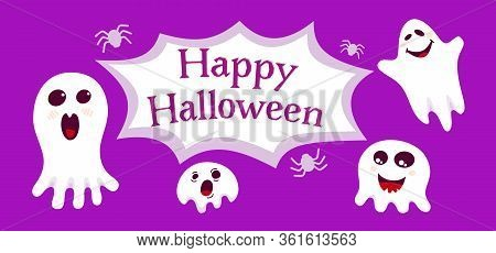Happy Halloween Empty Banner With Different Ghosts And Spiders Cartoon. Purple Background Holiday Sp