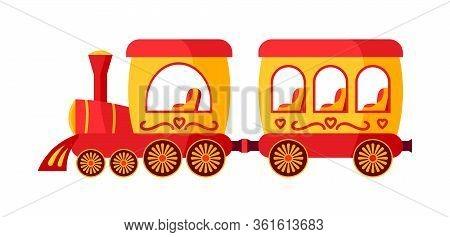 Funny Multicolored Locomotive, Childrens Train Amusement Park Flat. Cartoon Toy Train. Festivals Out