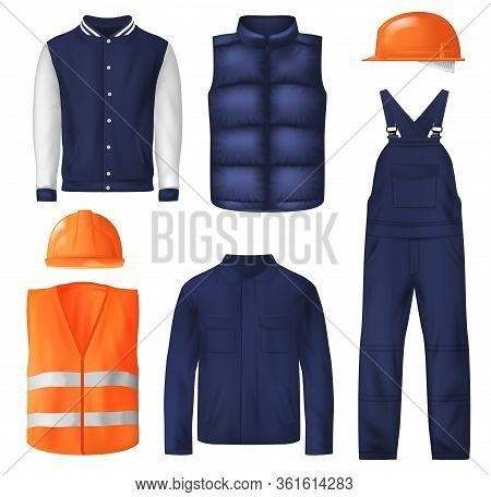 Work And Sports Wear Vector Design Of Men Clothes. Worker Uniform Jacket, Orange Safety Helmets Or H
