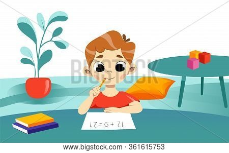 Concept Of Children Education And Back To School. Smiling Boy Do Homework On Mathematics At Home. Ch