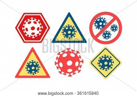 Anti Coronavirus Sign Icon Set.  Stop Covid-19 Stickers. Premium Vector Illustration.