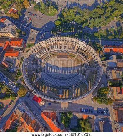 Pula, Croatia - September 13, 2019: Aerial Stiched Panorama Of Arena An Ancient Roman Amphitheater -