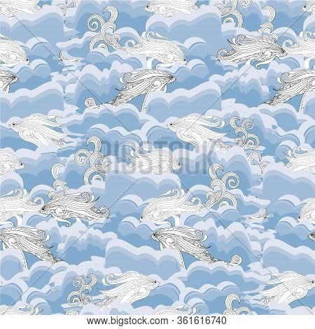 Fish In Blue Wave Seamless Pattern. Art Design Stock Vector Illustration For Web, For Print, For, Fa