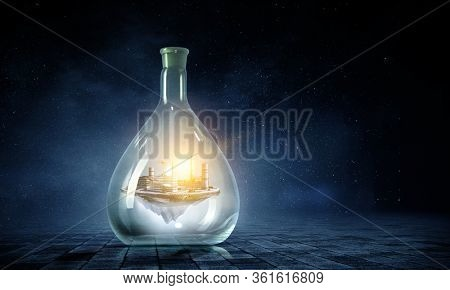 Energy plant inside a glass bottle