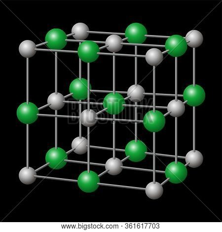 Sodium Chloride, Nacl Crystal Structure With Sodium In Gray And Chloride In Green. Chemical Compound