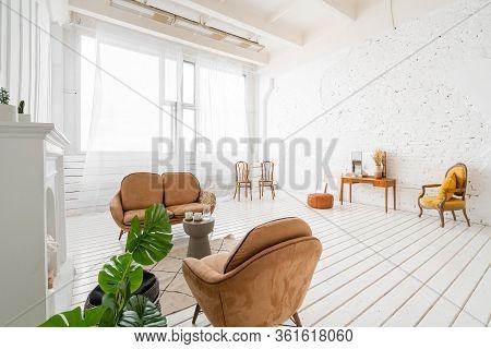 Interior Photo Studio. Morning In Light Interior. Bright And Clean Interior Design Of A Luxury Livin