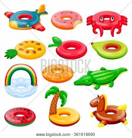 Pool Inflatable Rings Set. Boys And Girls Floating Funny Toys. Vector Illustration. Summer Beach Kid