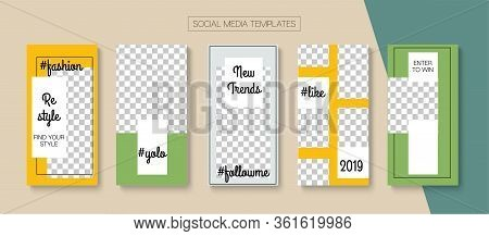 Modern Stories Vector Background. Minimal Sale, New Arrivals Story Layout. Blogger Tech Cards, Socia