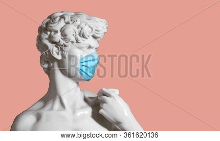 Replica Of David Sculpture With Face Mask, Health Concept