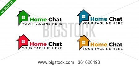 Real estate chat vector icon. filled flat sign for mobile concept and web design. Speech bubble with home simple solid icon. Symbol, logo illustration. Pixel perfect vector graphics