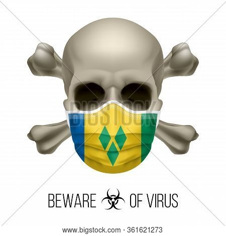 Human Skull And Surgical Mask In The Color Of National Flag Saint Vincent And The Grenadines. Mask I